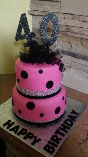 Hot Pink And Black 40th Birthday Cake By SweetBlessingsbyLou
