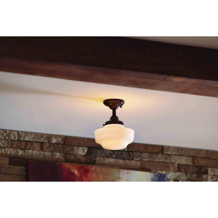 Lowes semi flush mount lighting - Shop Allen Roth 8 62 In W Dark Oil Rubbed Bronze Opalescent Glass Semi