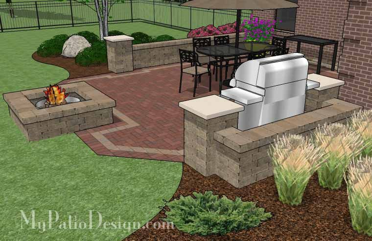 Our Traditional Brick Patio Design With Pergola, Grill Station And Fire Pit  Will Create A Fabulous Outdoor Living Space You Can Enjoy All Year. Matu2026