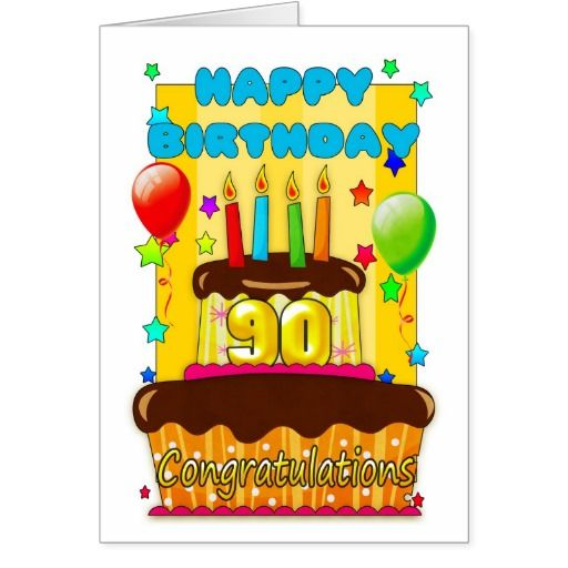 Birthday Cake With Candles Happy 90th Birthday Card 90th