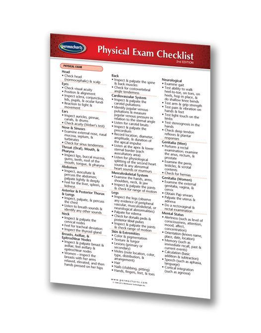 Physical Exam Checklist  Nursing Medical Pocket Chart Quick