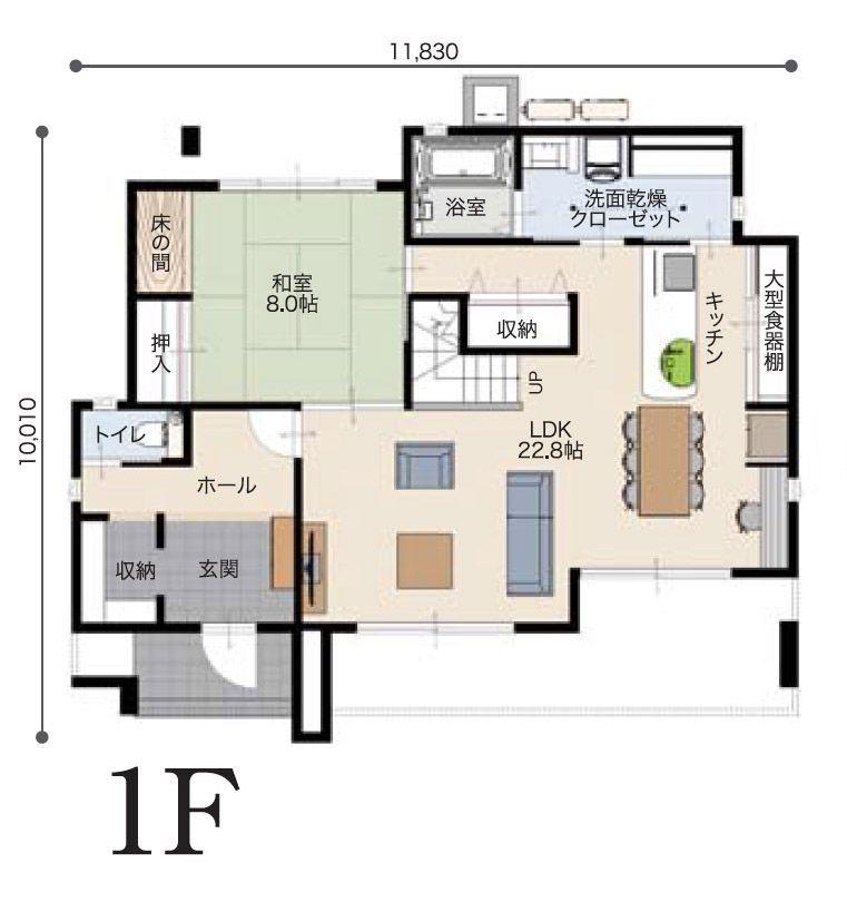 間取り 南玄関 4ldk 55坪 二世帯住宅 間取り 建築レイアウト 二