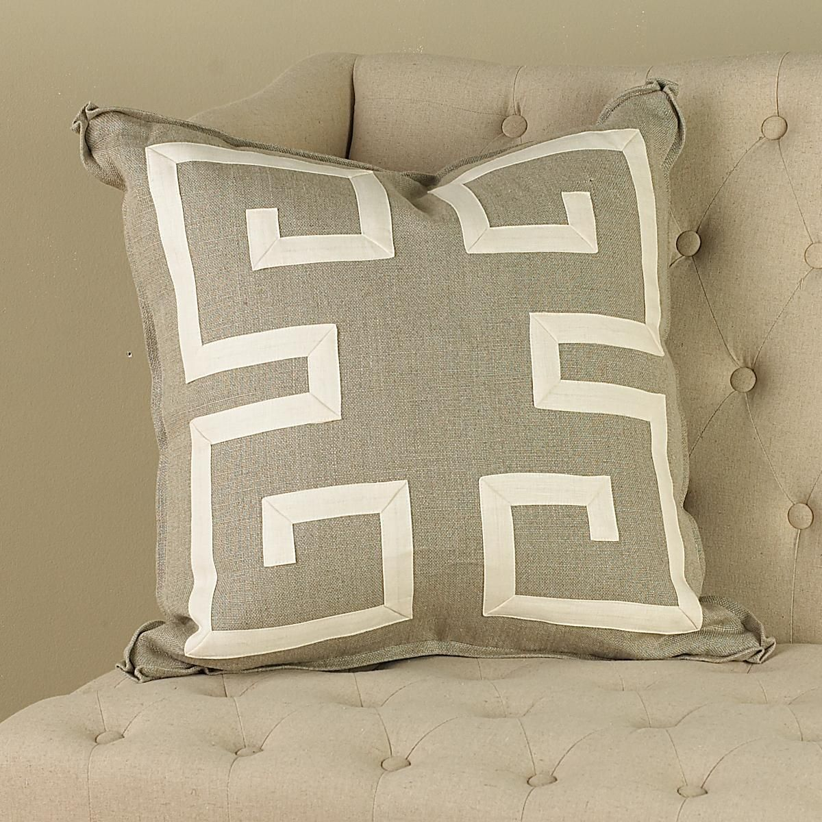 Greek Key Throw Pillow Out Of Neutral Taupe Linen Stuffed With Feather Down 22