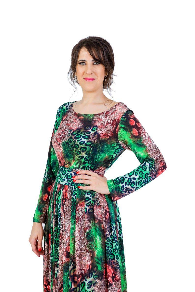Round Neck Dress Maxi Dress Womens Dress Multicolor Dress Pleated Dress Long Dress Long Sleeve Dress