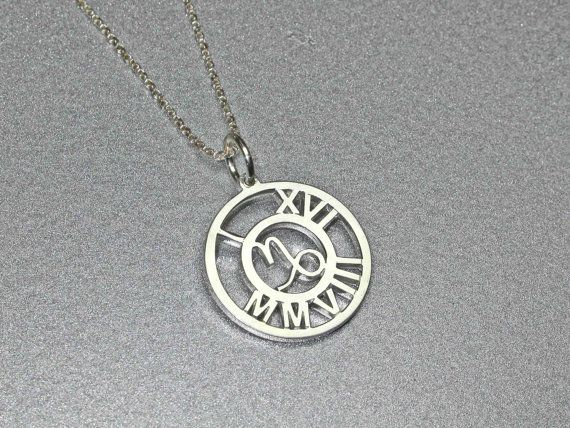 Personalized Roman Numeral Zodiac Sterling By