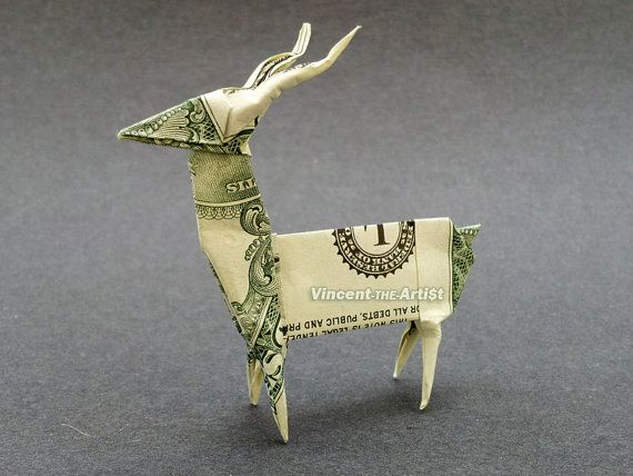 deer money origami dollar bill art buck billetes