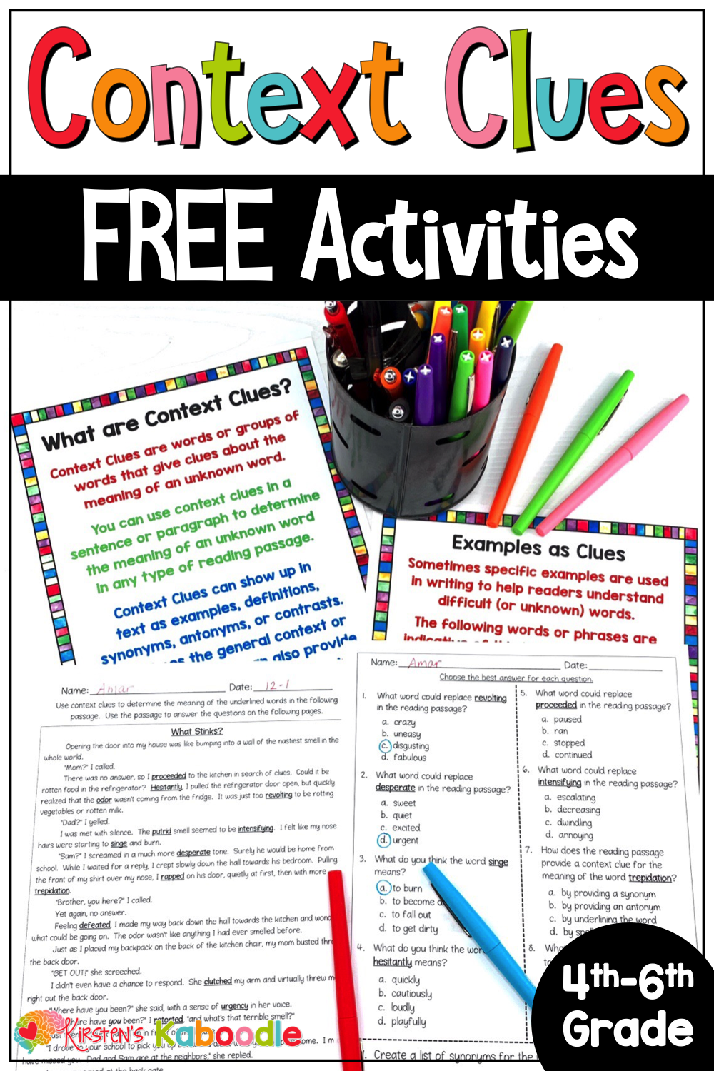 Opt- In Landing Page for FRL General Pins   Context clues activities [ 1500 x 1000 Pixel ]