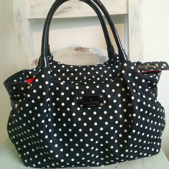 Kate Spade Polka Dot Satchel EXTERIOR  KATE SPADE POLKA DOT WHITE COLOR IN  BLACK STAIN AND  NYLON FABRIC KATE SPADE LOGO  ON THE FRONT OF THE BAG  BLACK ... 389b3eab6b