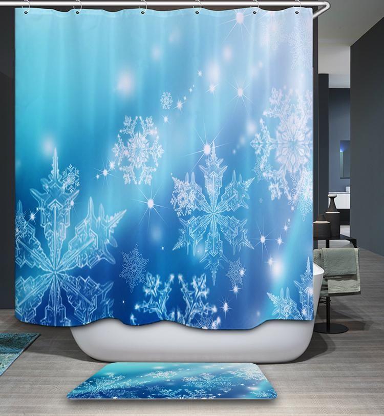 Blue And White Snowflake Shower Curtain Bathroom Decor White