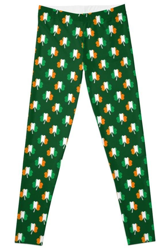 113e5187a586f Irish Flag Green White Orange on Green St. Patrick's Day Ireland Legging
