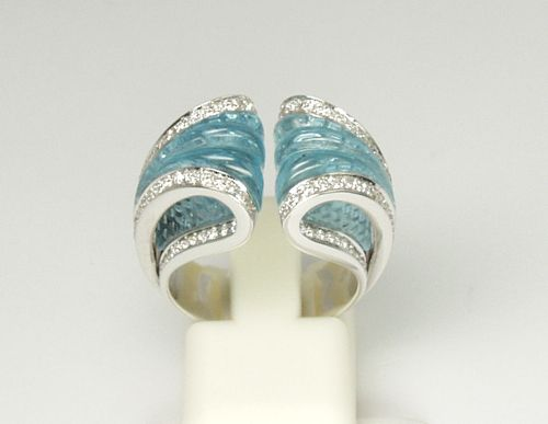 Tilden Ross Jewelers - Scavia Hand-Carved Blue Topaz Ring