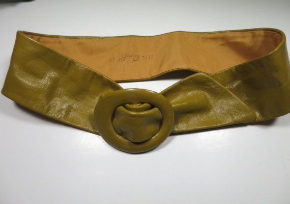 Curry Leather Belt  Leather Covered Buckle Size Medium Small Waist Cinch Look Signed Garay French Mustard Color Belt