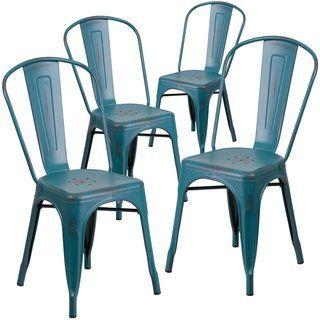 4pk Distressed Black Metal Indoor Outdoor Stackable Chair