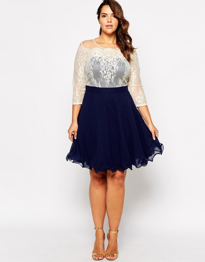 Image of chi chi london plus sweetheart neckline lace prom dress