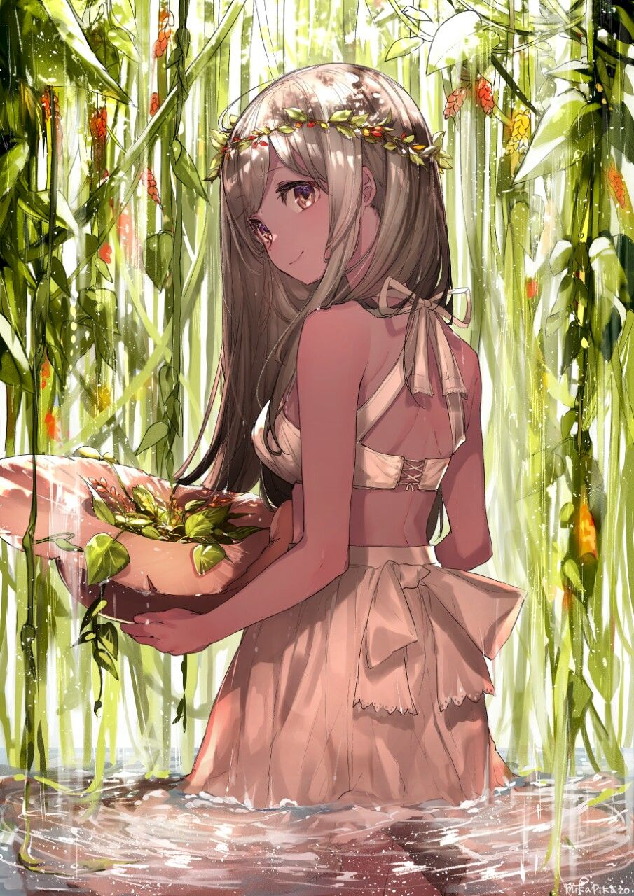 Beautiful Exotic Anime Girl With Gorgeous Long Hair And Flowers