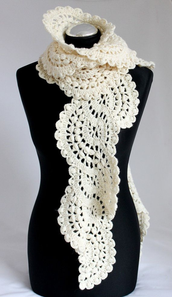 Crocheted lace scarf in cream ivory | tecnicas crochet | Pinterest ...