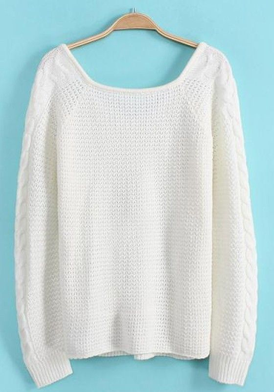 White Plain Long Sleeve Sweater | White plains and Fashion