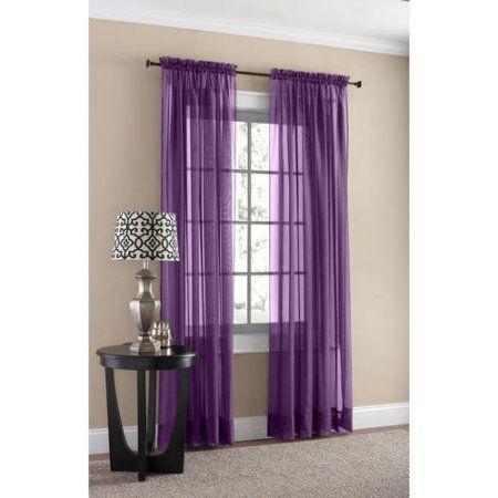 Mainstays Marjorie Sheer Voile Curtain Panel, Purple
