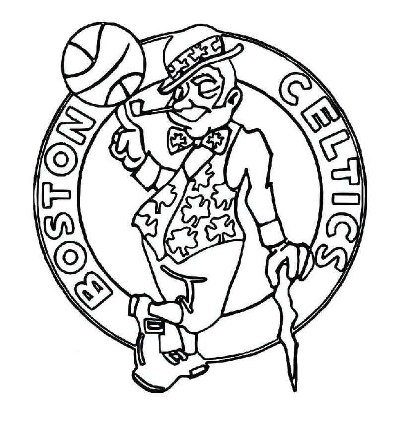 College Basketball Logos Coloring Pages Boston Celtics Logo Super Coloring Pages Nba Logo