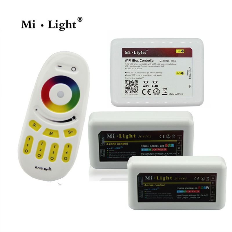 Mi Light 2.4G Wireless RF Touch Remote, 4 Zone RGBW LED Controller,