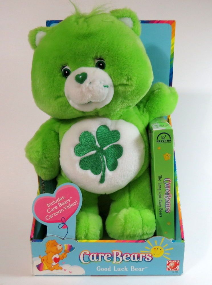 Care Bears Good Luck Bear Plush W/VHS Video Tape By Play Along  2003,New In box #PlayAlong #AllOccasion