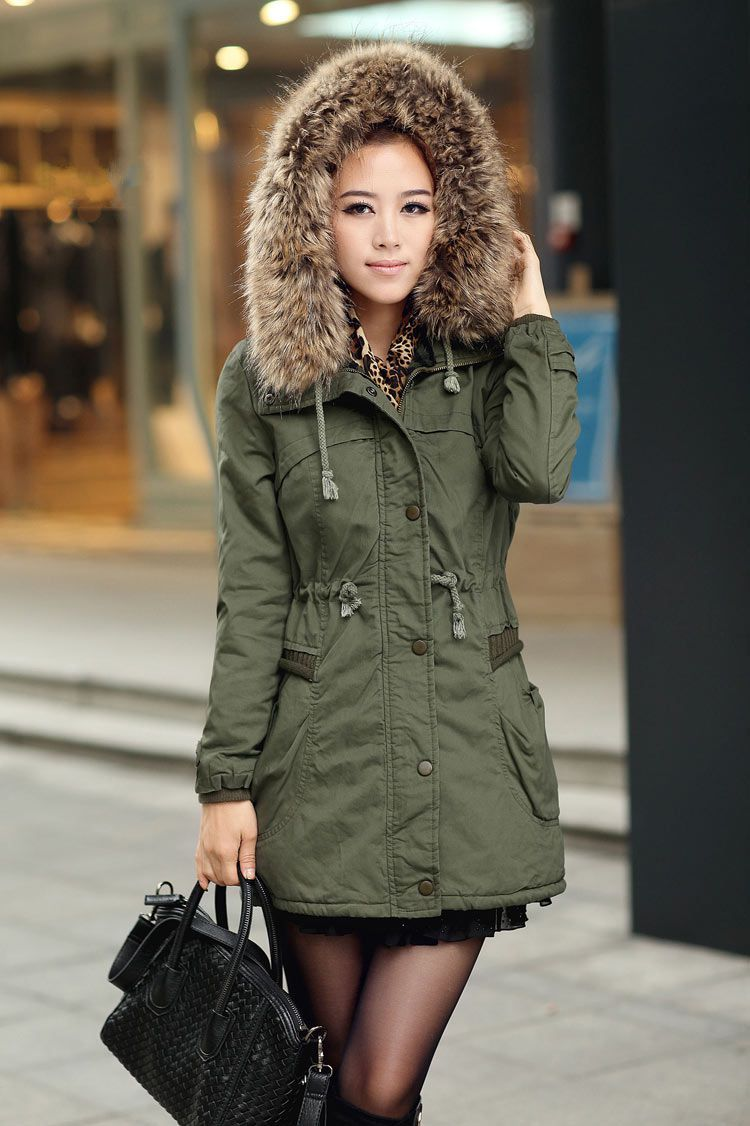 Green Womens Winter Coats Faux Fur | Cotton Charts and Fur