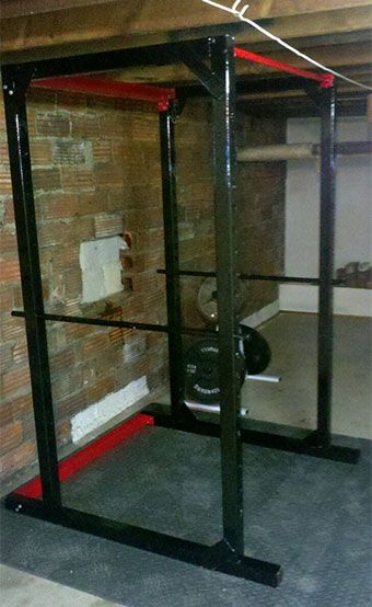 Homemade steel power rack diy power rack power rack and gym for Make a squat rack at home