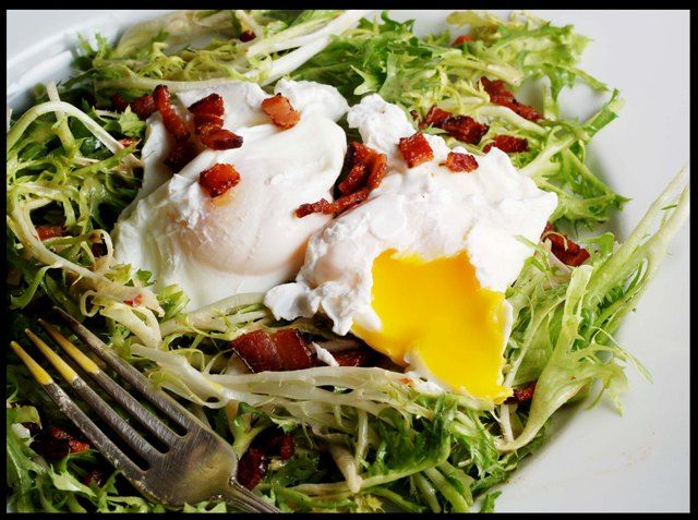 frisee-salad-with-first had this at French Laundry in 1994.  Will never forget it....True Lardons are missing here.