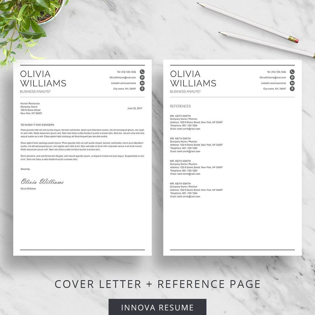 Professional Resume Template with Cover Letter and