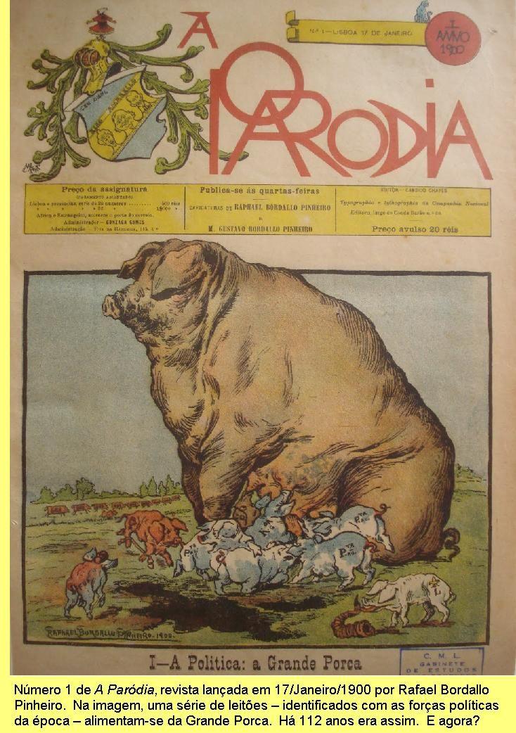 Capa de 'A Paródia' com 'A Grande Porca' por Rafael Bordalo Pinheiro