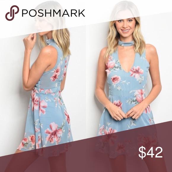 166498152f8 Floral Choker Dress ✨light blue with blush pink floral pattern ...