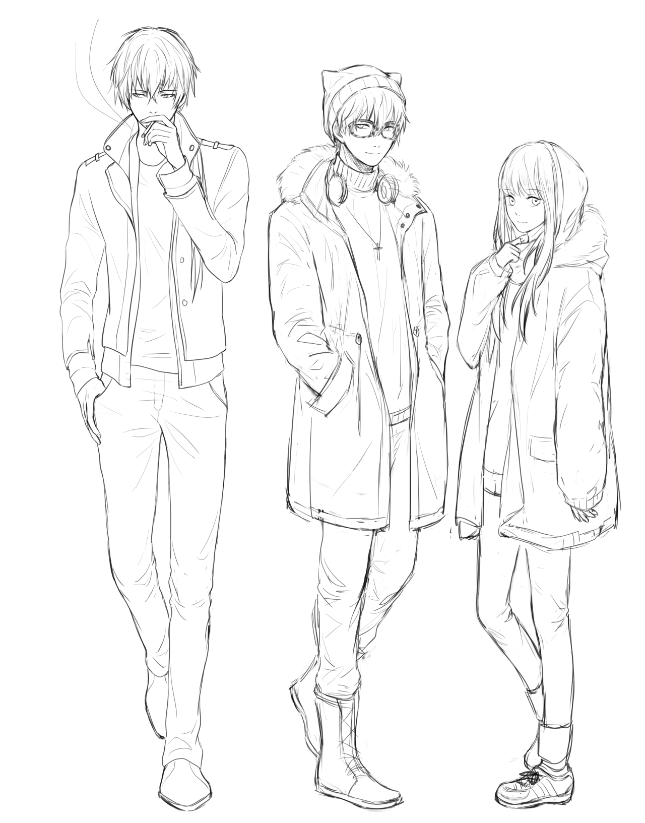 Kinlkeyl Wip Winter Clothes Gonna Draw The Whole Squad Xd Art Reference Poses Art Reference Winter Drawings