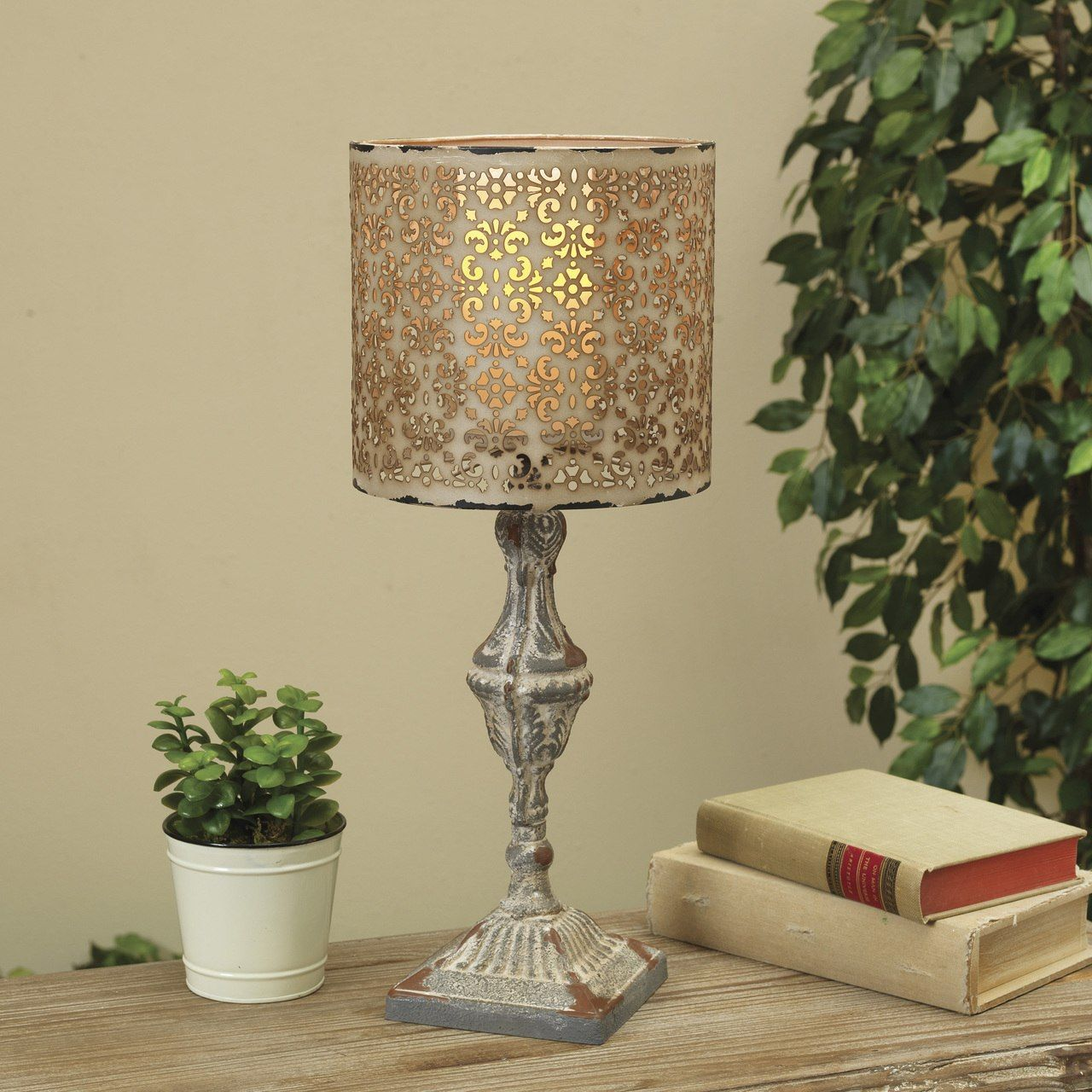 Pedestal candle holder with metal lamp shade 2253090 195 pedestal candle holder with metal lamp shade 2253090 mozeypictures Image collections