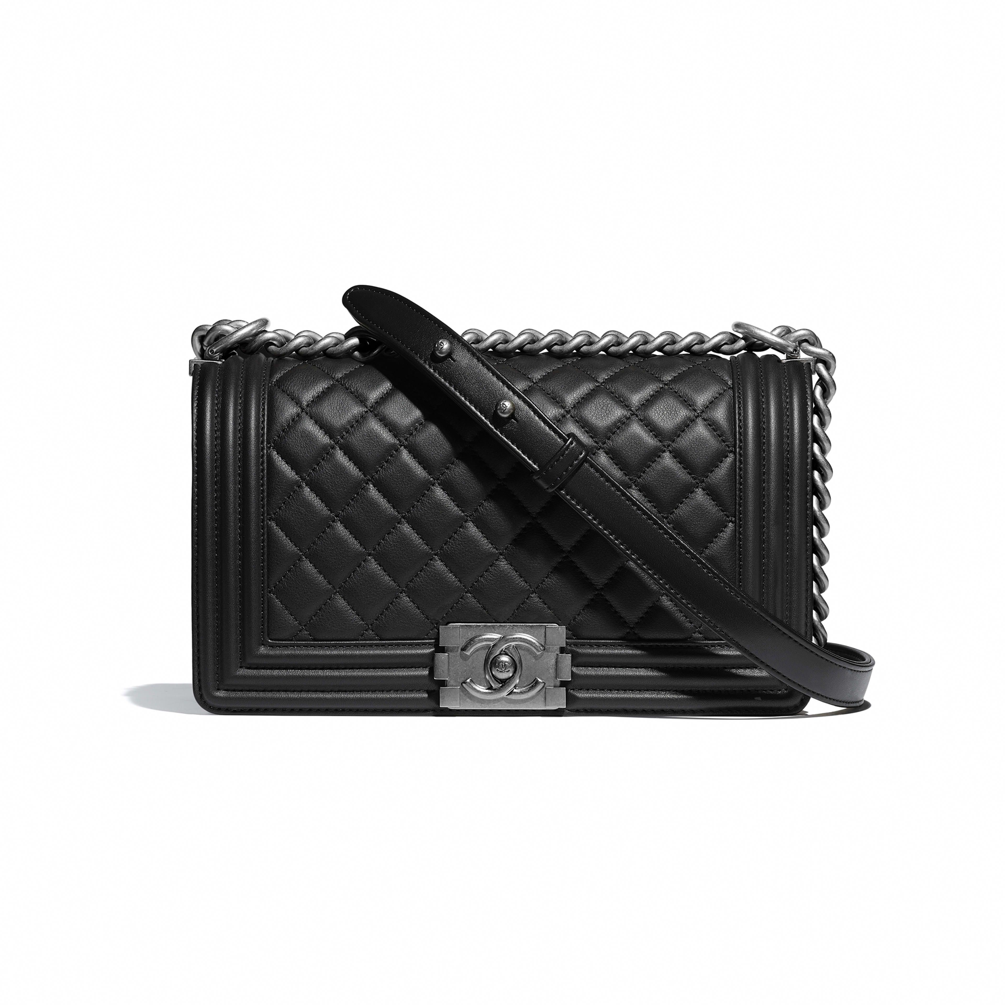 763da308c94d Chanel Boy 2017 New Medium Flap Crossbody Black Lambskin Leather Shoulder  Bag