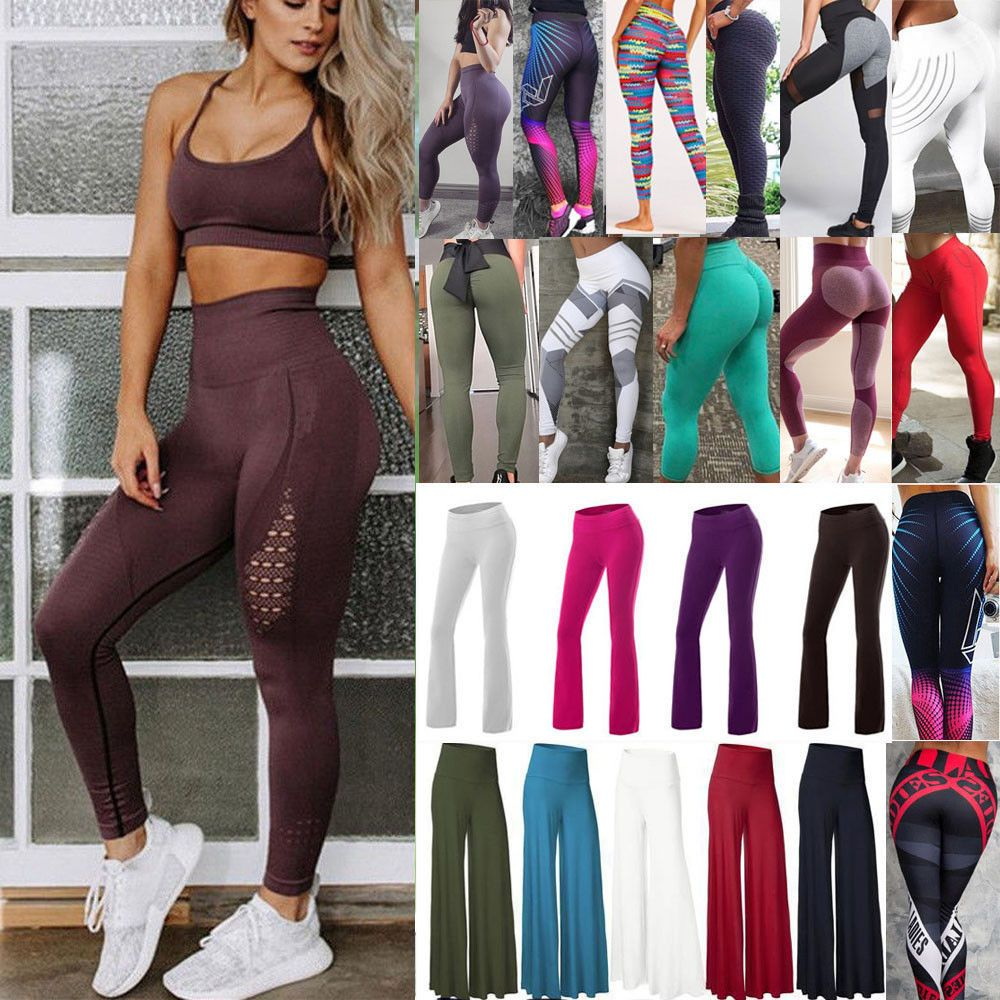 Womens Gym Seamless Fitness Leggings Ombre High Waist Training Sports Yoga Pants