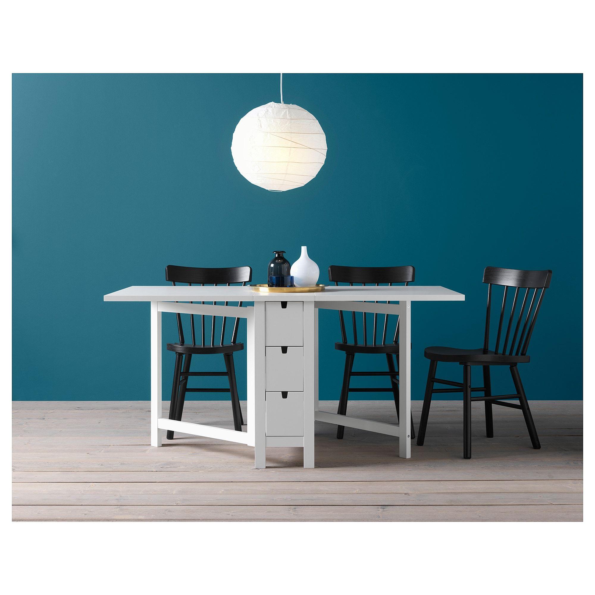 Norden Gateleg Table White Ikea Painted Drawers