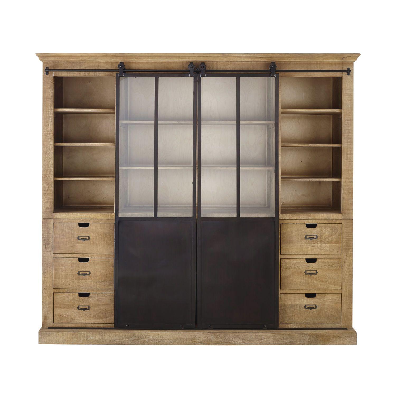 Germain Bibliotheque 2 Portes En Manguier Massif Et Metal H200 X L220 X P47 Cm 145 6 Kg Mai Bibliotheque Maison Du Monde Meuble Rangement Maison Du Monde