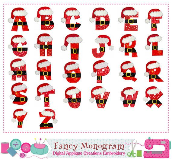 christmas letter a z with santa claus monogram by fancymonogram
