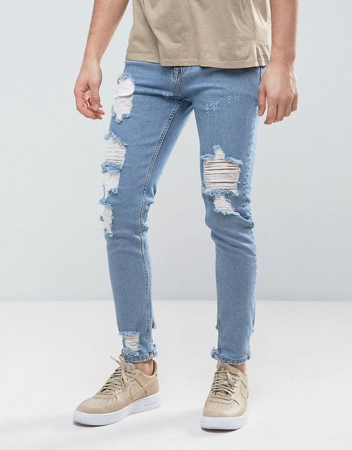 ASOS Skinny Jeans In Light Wash Blue Vintage With Heavy Rips and Repair
