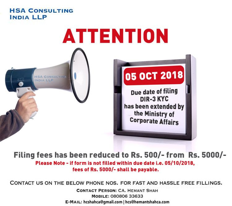 HSA Consulting India LLP - offers the filing of DIR-3 KYC and other