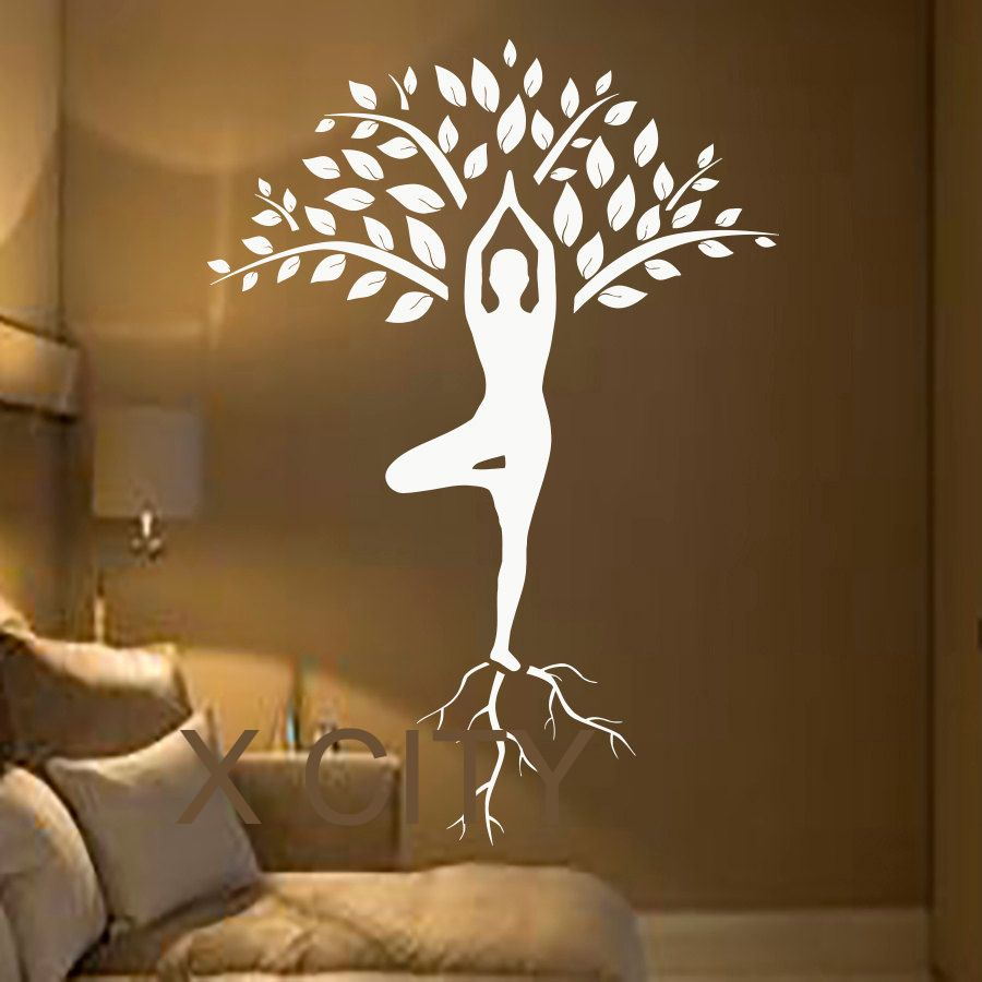 Pas cher Arbre Stickers Muraux Art Gymnaste Décalque De Yoga ...