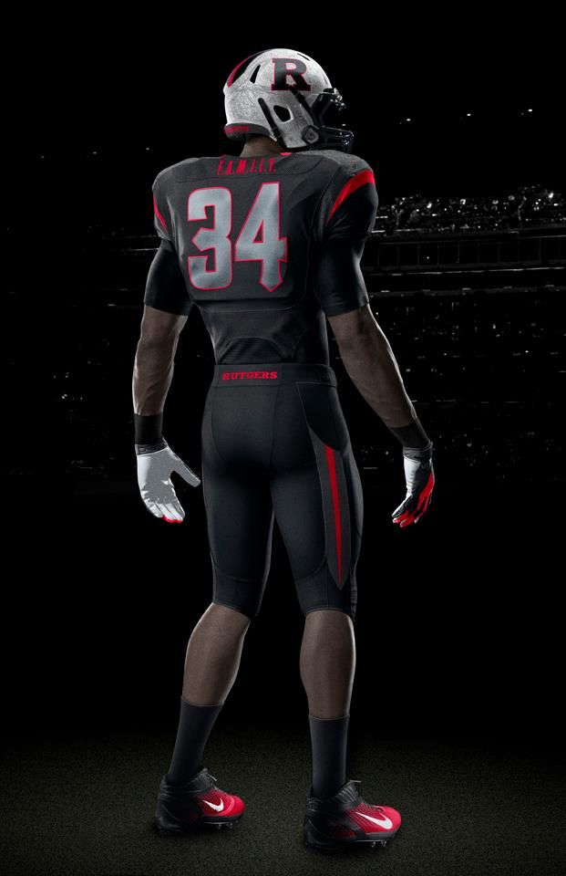 Rutgers Nike Black On Black Back View Football Sports Uniforms Football Uniforms