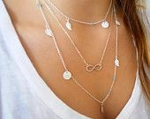 Silver Layered Necklace Set. Silver Charms Necklace. Pick Your Color and Pendant. Long Silver Necklace.