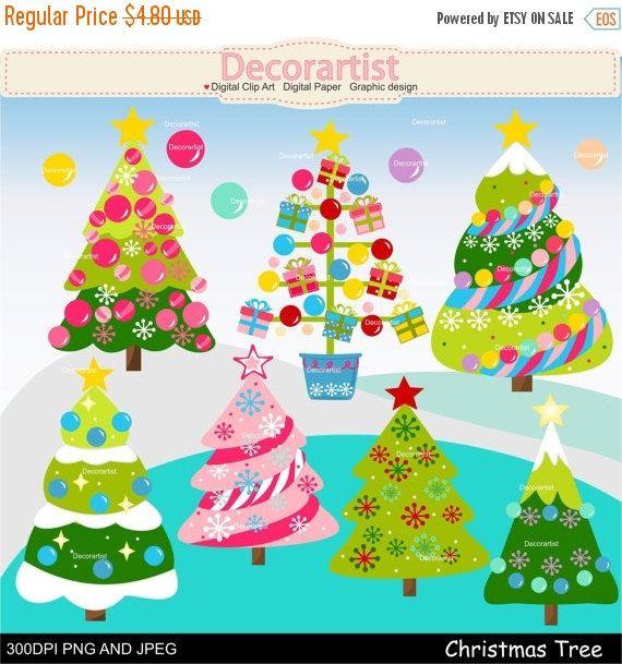 EN venta Navidad clip arte árbol de Navidad por Decorartistclipart