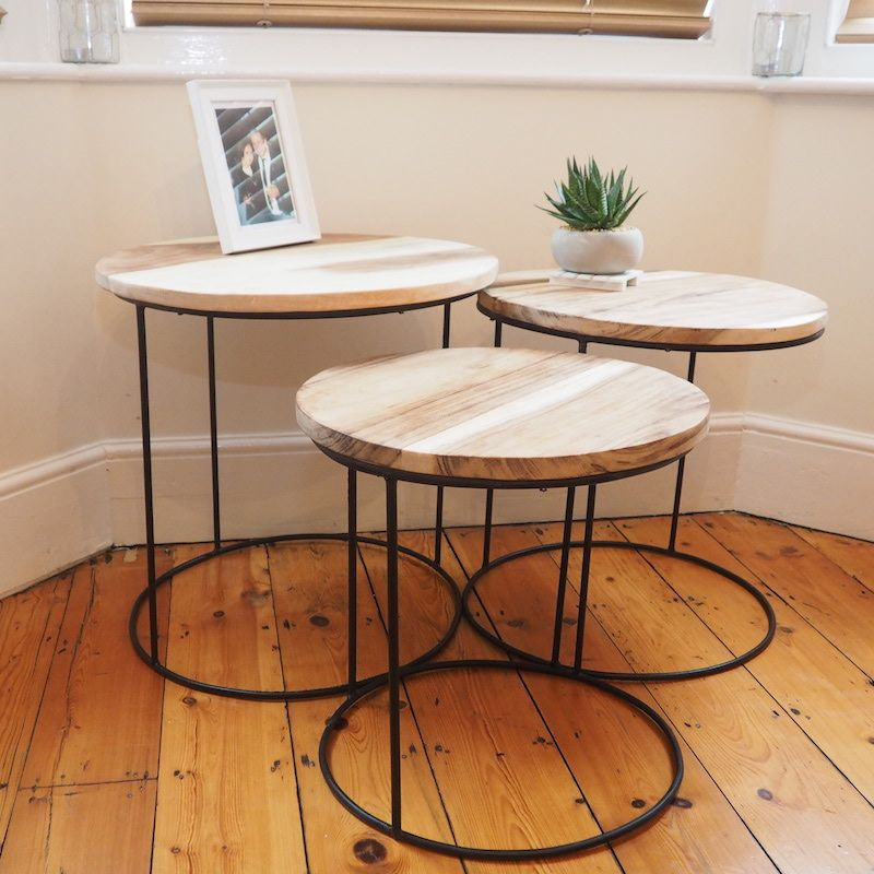 Round Nesting Tables Za Za Homes Coffee Table Wood Natural Wood Furniture Table
