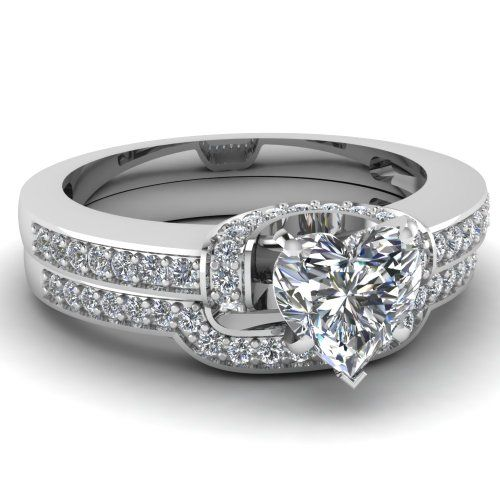 Round & Heart Diamond Wedding Engagement Rings Pave Set 1.10 Ct G-Color 14K GIA Certificate # 2156975695 $3,839.99