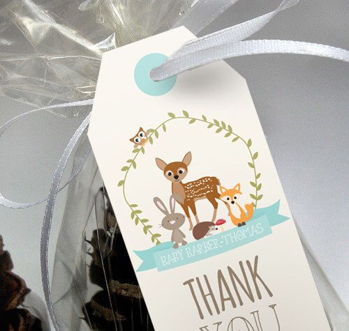 Woodland Baby Shower favors in Teal Blue - Woodland Favors - Instant Download and Editable File - Personalize at home with Adobe Reader by SunshineParties on Etsy https://www.etsy.com/listing/222360349/woodland-baby-shower-favors-in-teal-blue