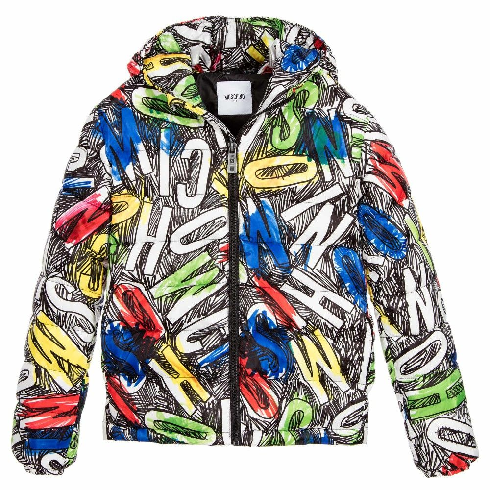 bca455fc2ce6c3 Boys super soft down padded puffer style jacket by Moschino Kid-Teen. It  has a silky smooth feel with a black and brightly coloured graffiti style  logo ...