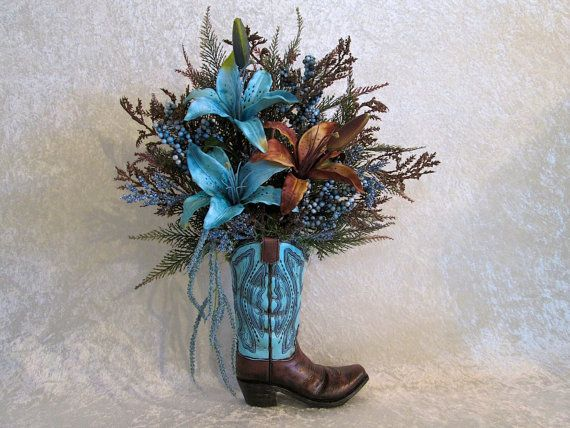 Silk Flower Arrangement In A Cowboy Boot By Alwaysinbloomfloral Flower Arrangements Silk