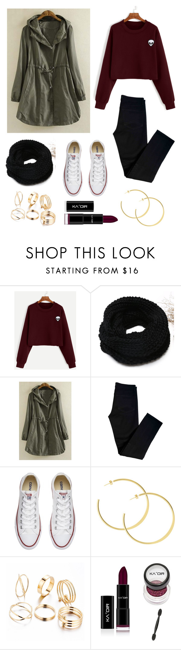 """I'm back"" by queen-ken ❤ liked on Polyvore featuring WithChic, J Brand and Converse"